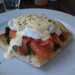Eggs Florentine with smoked salmon, on Turkish bread